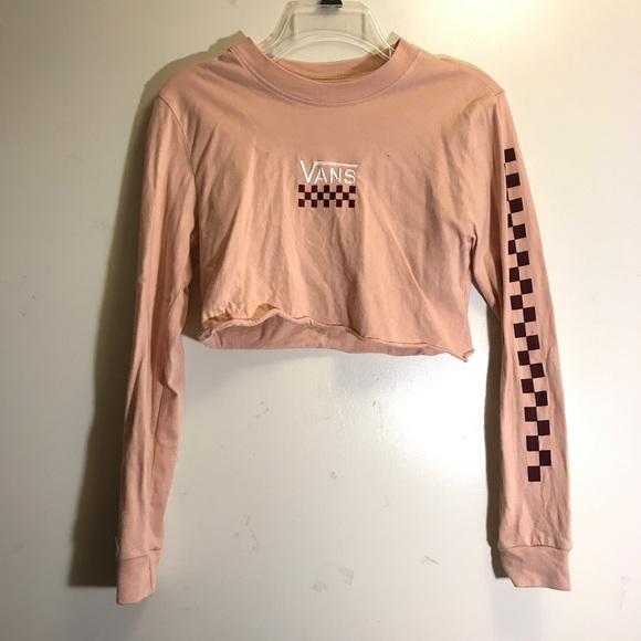 8f35beaaa7b peach vans embroidered checker sleeve crop top. M_5b4d5ddc5bbb80cf77aded31